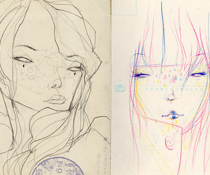 drawing, girls, and sketchbook image