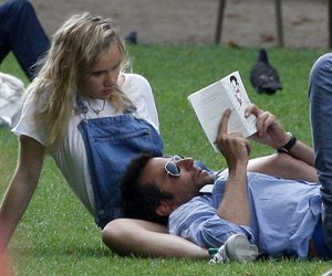book, couple, and grass image