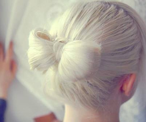 blonde, blonde hair, and hair bow image