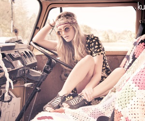 girl, hippie, and car image