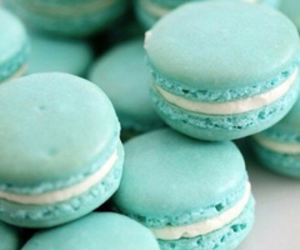 blue, macaroons, and yum image