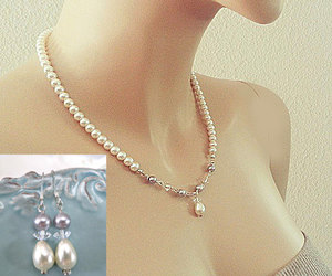wedding jewelry set, bridal pearl necklace, and pearl crystal necklace image
