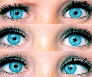 black, blue, and eyelashes image