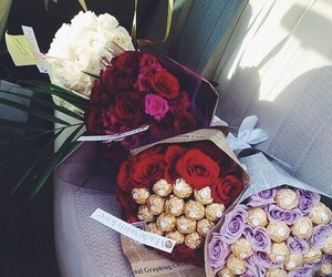 flowers, rose, and chocolate image