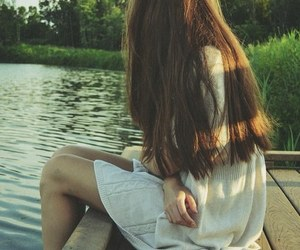 girl, lake, and alone image