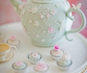 cupcake, tea, and vintage image
