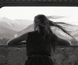 black and white, landscape, and long hair image
