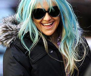actress, blue hair, and hairstyle image