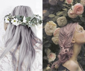 flowers, pastel, and girl image