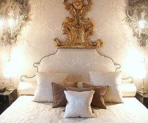 luxury, bed, and gold image