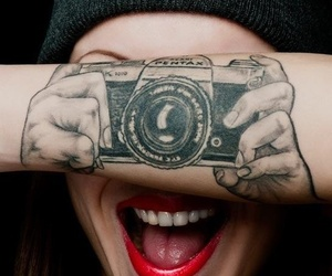 camera, photo, and red lips image