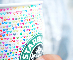 starbucks, hearts, and coffee image