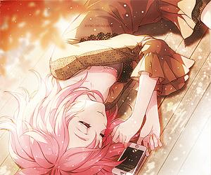 anime girl, manga, and handphone image