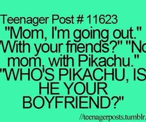 pikachu, funny, and mom image