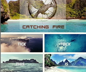 catching fire, hunger games, and clock image