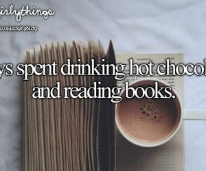 book, chocolate, and hot chocolate image
