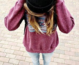 girl, sweater, and beanie image