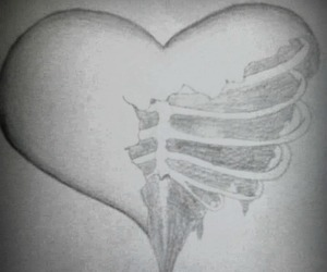 dead, drawing, and heart image