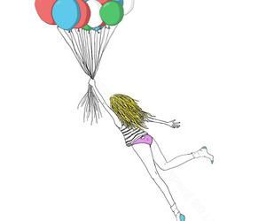 balloons, Flying, and girl image