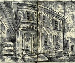 architecture, draw, and sketch image