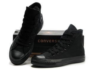 black, converse all star, and rock n roll image