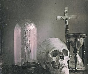 skull, black and white, and cross image
