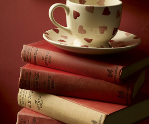 book, cup, and red image