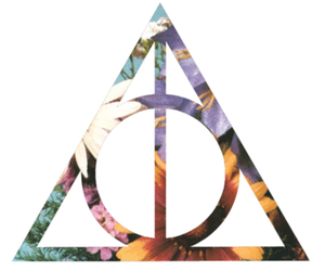 harry potter, flowers, and deathly hallows image