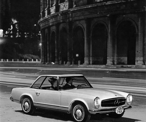 car, rome, and black and white image