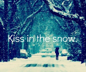 snow, kiss, and love image