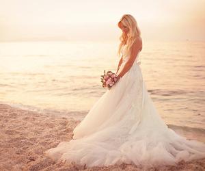 wedding, beach, and dress image