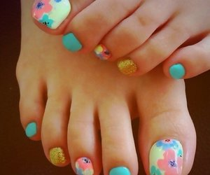 nails, flowers, and colors image