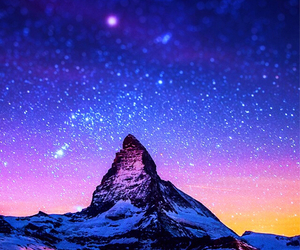 stars, mountain, and wallpaper image