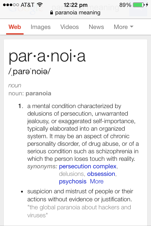 paranoid meaning