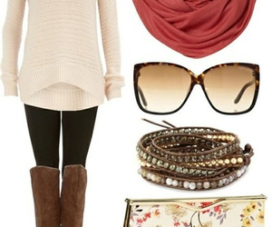 outfit, boots, and scarf image