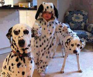 dog, baby, and dalmatian image