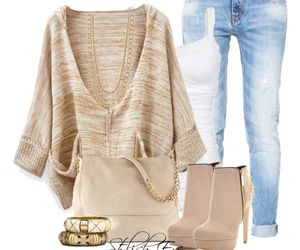 bag, bangles, and rolled up jeans image