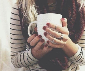 nails, scarf, and coffee image
