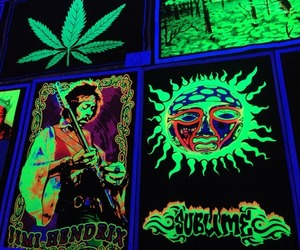 cannabis, Jimi Hendrix, and poster image