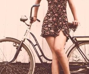 girl, bike, and dress image