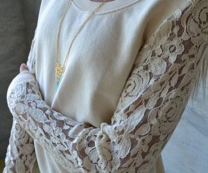 beige, sweater, and sueter image