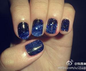 girl, galaxy nail, and nail polish image