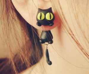 cat, black, and earrings image