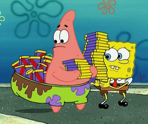spongebob, chocolate, and patrick image
