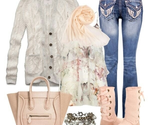 cardigan, pink, and winter image