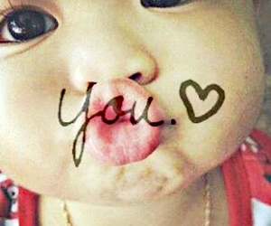 baby, heart, and kiss image
