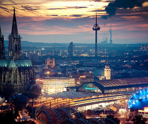 city, light, and germany image