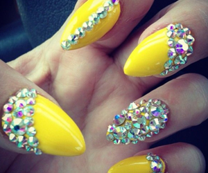 nails, yellow, and diamond image