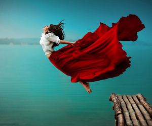 red, dress, and fly image