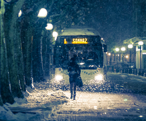 bus, snow, and girl image